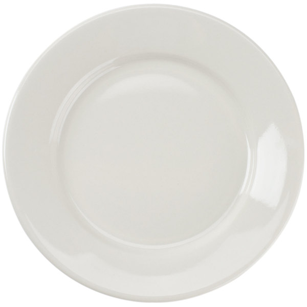 CAC REC-6 6 1/2 inch Ivory (American White) Wide Rim Rolled Edge China Plate - 36/Case