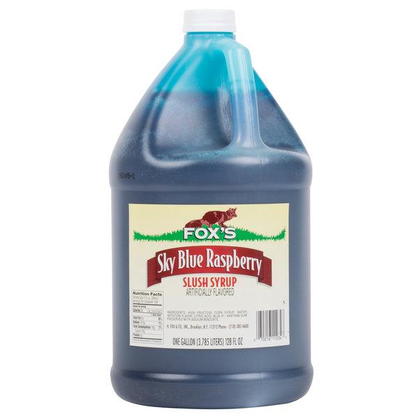 Fox's 1 Gallon Blue Raspberry Slush Syrup  - 4/Case
