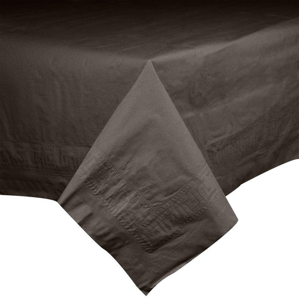 Hoffmaster 220646 54 inch x 108 inch Cellutex Chocolate Brown Tissue / Poly Paper Table Cover - 25/Case