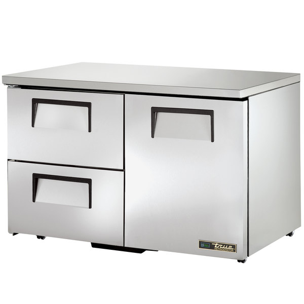True TUC-48D-2-LP-HC 48 inch Low Profile Undercounter Refrigerator with One Door and Two Drawers