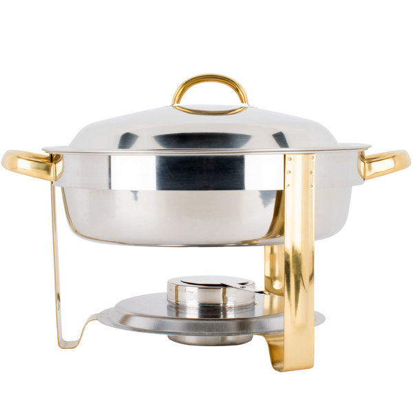 Choice Deluxe 4 Qt. Round Gold Accent Chafer