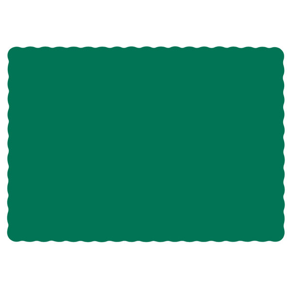 Hoffmaster 310528 10 inch x 14 inch Hunter Green Colored Paper Placemat with Scalloped Edge - 1000/Case