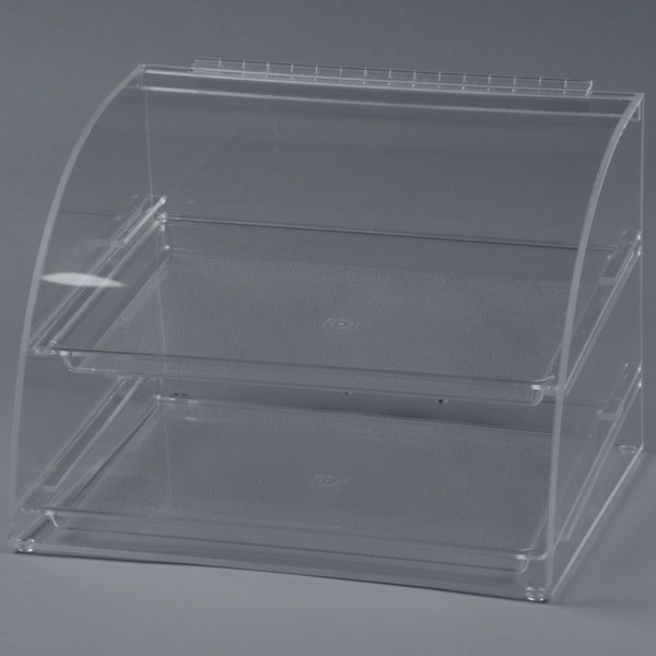 Cal-Mil 289 Euro Style Curved Front Two Tier Acrylic Display Case with Rear Door - 15 1/2 inch x 13 inch x 11 inch