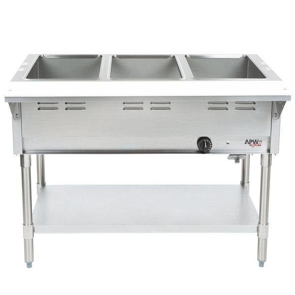 APW Wyott GST-3 Champion Open Well Three Pan Gas Steam Table - Galvanized Undershelf and Legs