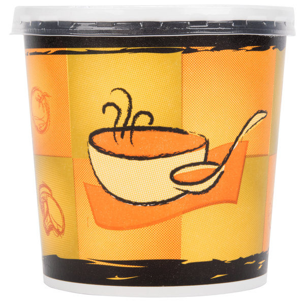 Huhtamaki Chinet 71848 16 oz. Double-Wall Poly Paper Soup / Hot Food Cup with Plastic Lid and Streetside Design  - 250/Case