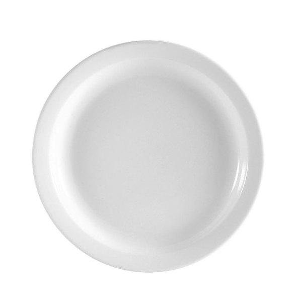 CAC NCN-22 Clinton 8 1/4 inchBright White Narrow Rim Porcelain Plate - 36/Case