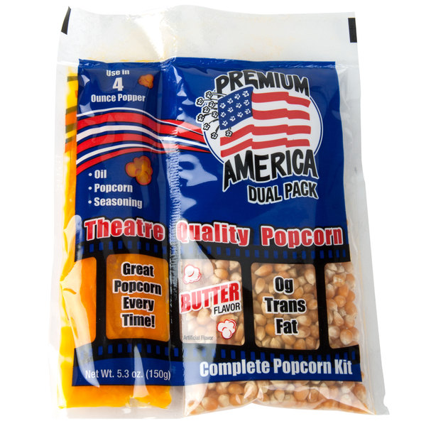 Great Western Premium America All-In-One Popcorn Kit for 4 oz. Popper - 48 / Case