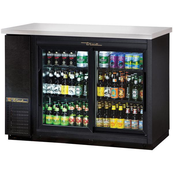 True TBB-24-48G-SD-LD 49 inch Sliding Glass Door Back Bar Refrigerator with LED Lighting - 24 inch Deep
