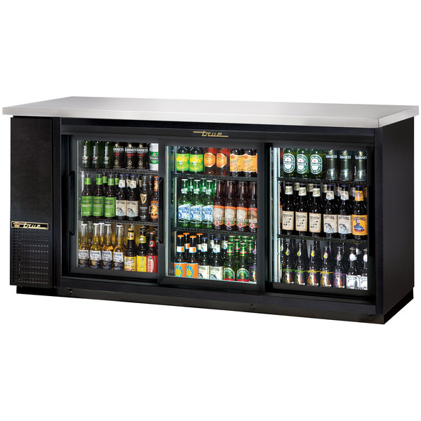 True TBB-24-72G-SD-LD 73 inch Sliding Glass Door Back Bar Refrigerator with LED Lighting - 24 inch Depth