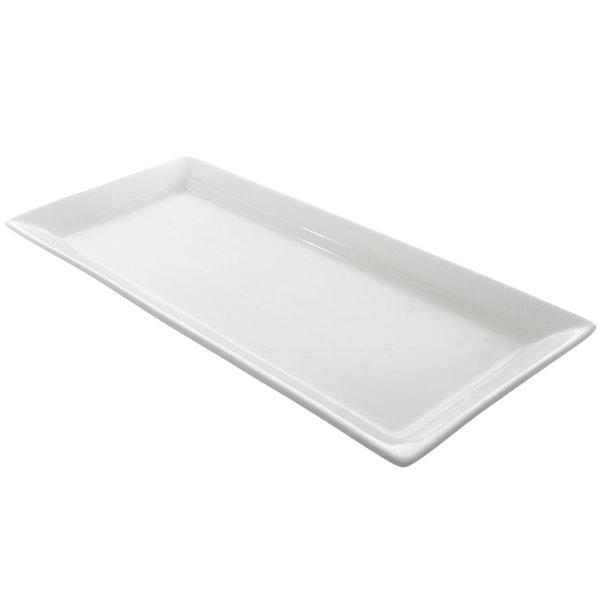 10 Strawberry Street WTR-7-15REC Whittier 7 inch x 15 inch White Rectangular Porcelain Platter  - 12/Case