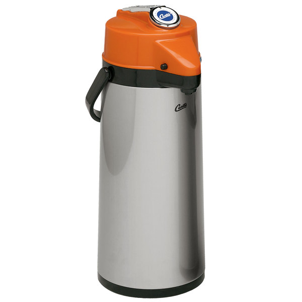 Curtis TLXA2201G000D 2.2 Liter Stainless Steel Lever Airpot with Glass Liner and Orange Top - 6/Case
