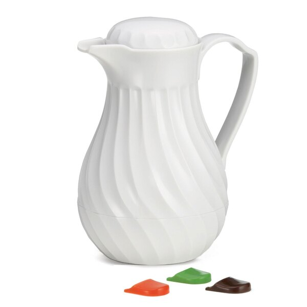 Tablecraft 442 0.6 Liter White Plastic Swirl Thermal Beverage Server