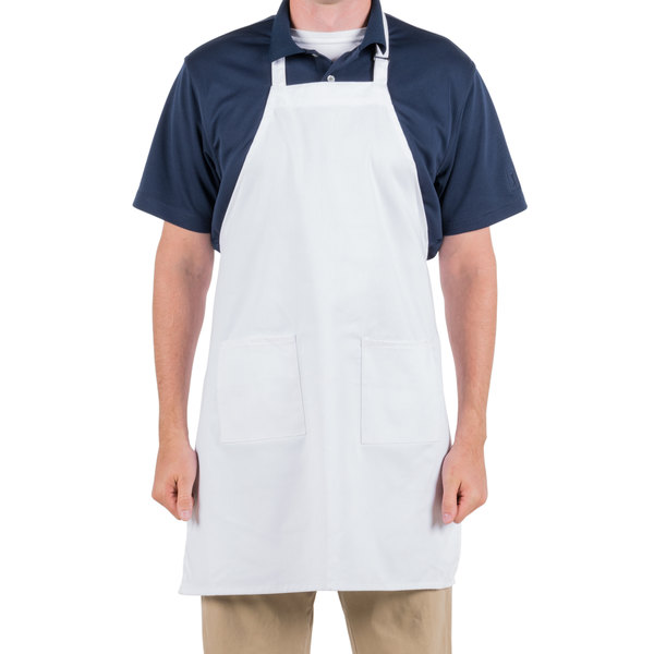 Choice White Full Length Bib Apron with Adjustable Neck with Pockets- 32 inchL x 28 inchW