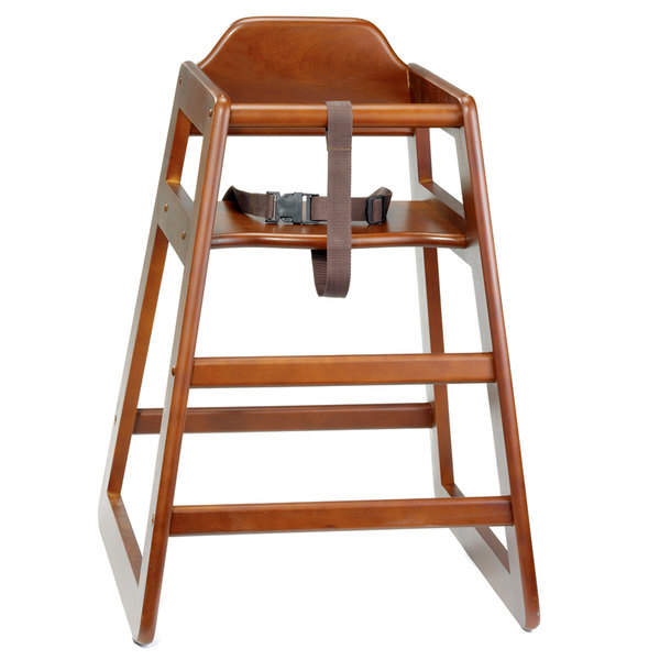 Tablecraft 66 Stacking Hardwood High Chair with Walnut Finish - Unassembled