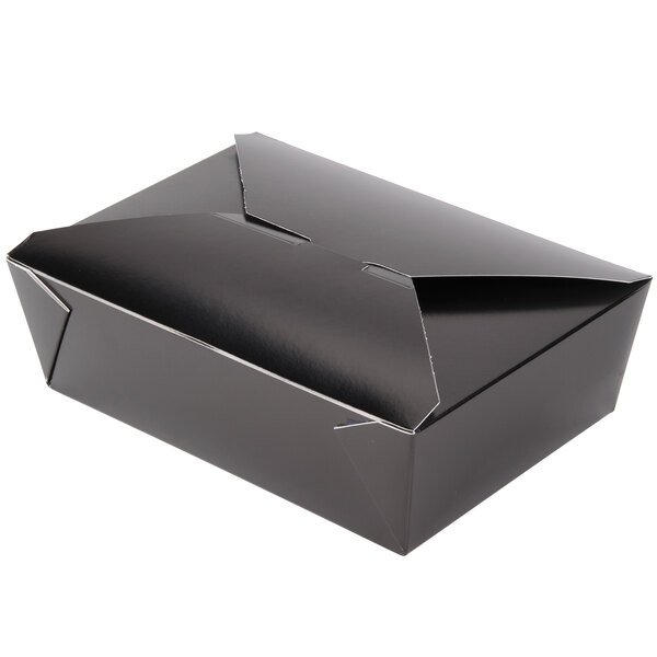 Bio-Pak 03BPBLACKM 8 inch x 6 inch x 2 1/2 inch Black Paper #3 Microwavable Take-Out Container - 50/Pack
