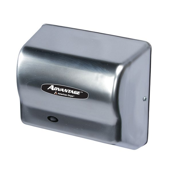 American Dryer AD90SS Advantage Series Automatic Hand Dryer with Stainless Steel Cover - 100-240V, 1250-1400W