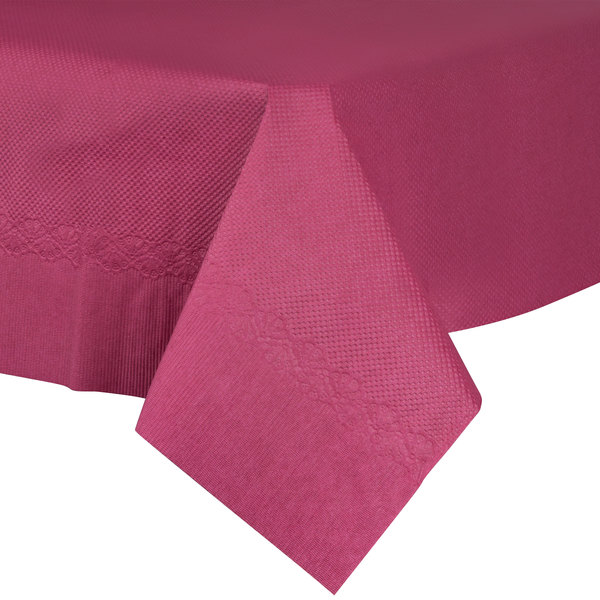 54 inch x 54 inch Burgundy Tissue / Poly Table Cover - 50/Case