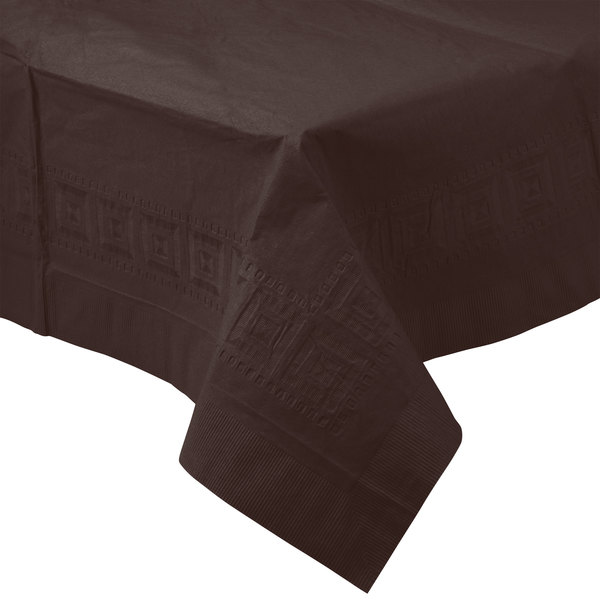 Creative Converting 710382B 54 inch x 108 inch Chocolate Brown Tissue / Poly Table Cover - 24/Case