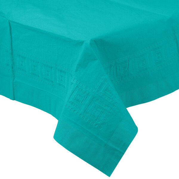 Creative Converting 710238 54 inch x 108 inch Tropical Teal Tissue / Poly Table Cover - 6 / Case