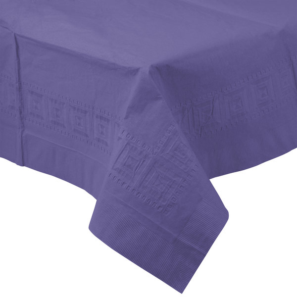 Creative Converting 710232B 54 inch x 108 inch Purple Tissue / Poly Table Cover - 24/Case