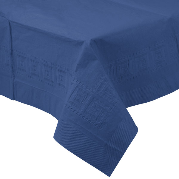 Creative Converting 710242B 54 inch x 108 inch Navy Blue Tissue / Poly Table Cover - 24/Case