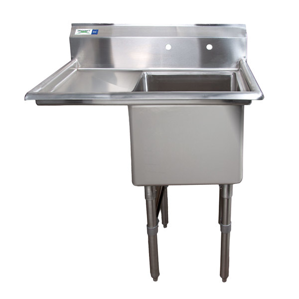 Regency 38 1/2 inch 16-Gauge Stainless Steel One Compartment Commercial Sink with 1 Drainboard - 18 inch x 18 inch x 14 inch Bowl