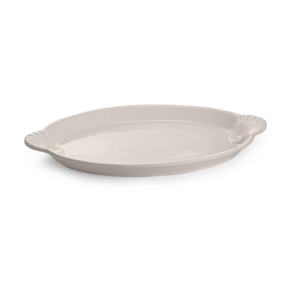 Tablecraft CW3030IV 20 inch x 14 inch Ivory Cast Aluminum Oval Shell Platter