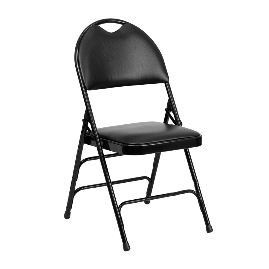 """Black Metal Folding Chair with 1"""" Padded Vinyl Seat with"""