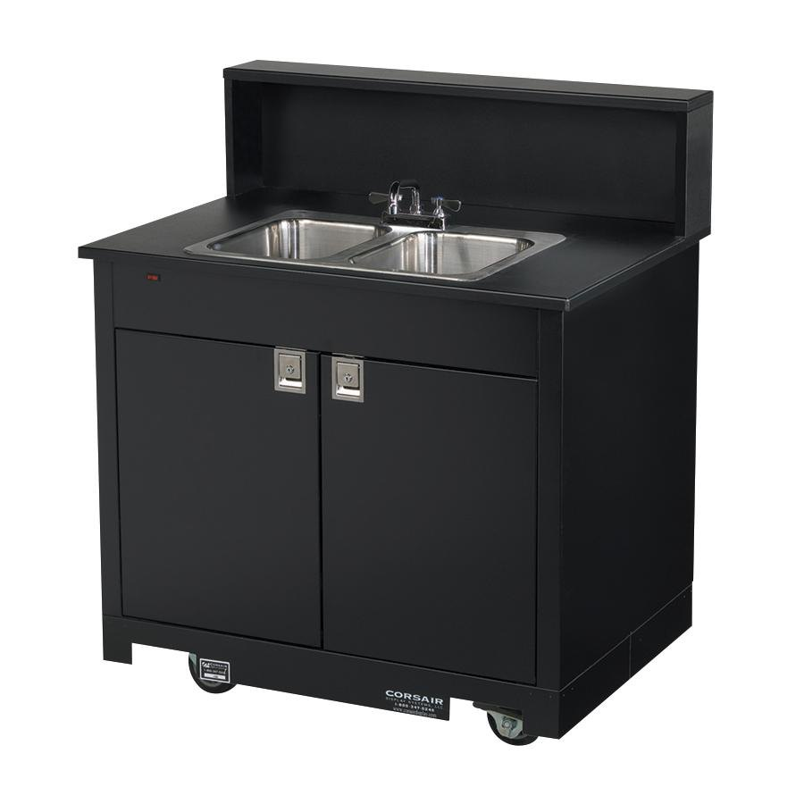 Portable Kitchen Sink : Vollrath 75672 BLACK Portable Double Bowl Hand Sink Cart 120V