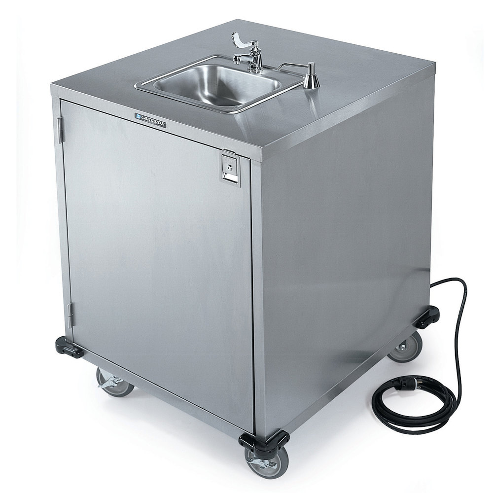 Portable Stainless Steel Sink : Lakeside 9600 Portable Self-Contained Stainless Steel Hand Sink Cart ...