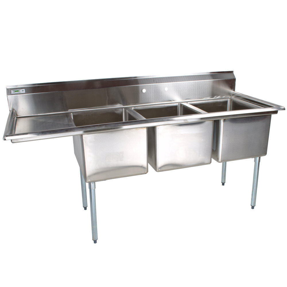 Commercial Triple Sink : 66 1/2