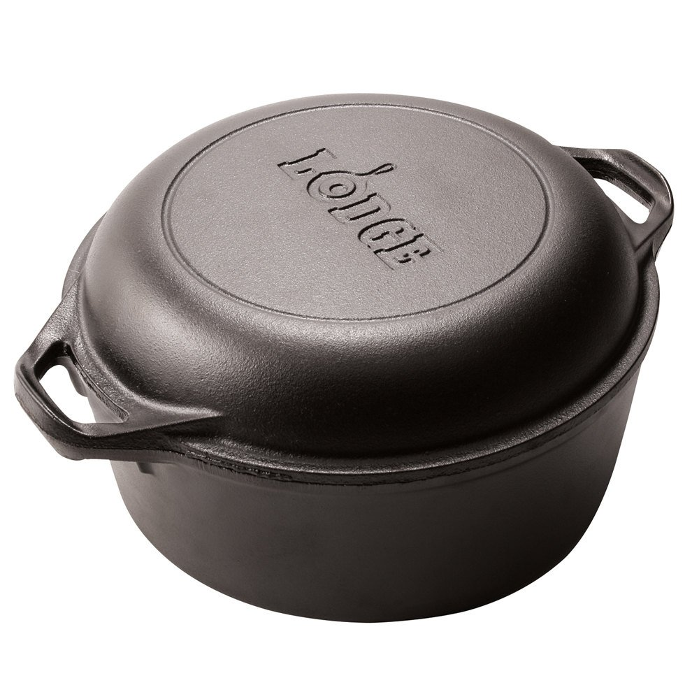lodge l8dd3 5 qt pre seasoned cast iron double dutch oven with loop handles. Black Bedroom Furniture Sets. Home Design Ideas