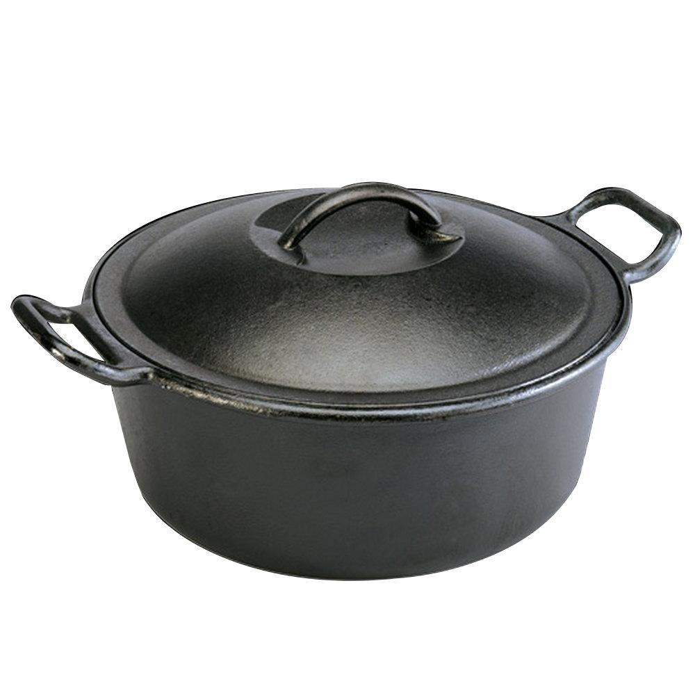 Lodge p d qt pre seasoned cast iron dutch oven with