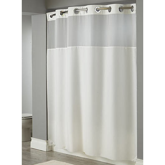 Hookless White Illusion Shower Curtain with Chrome Raised Flex-On ...