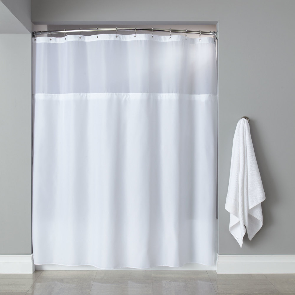 White Polyester Premium Shower Curtain with Buttonhole Header, Sheer ...