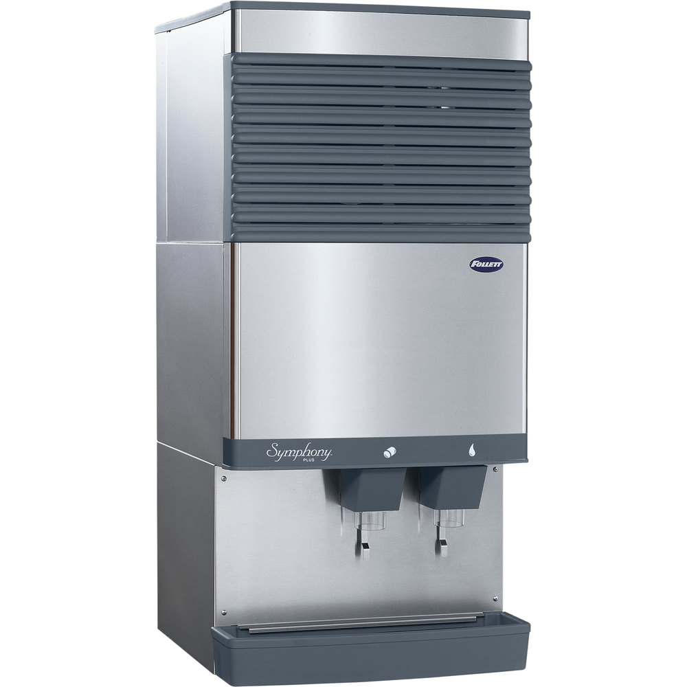 Water Cooler Coffee Maker Combo : Follett 110CT425W-L Symphony Plus Countertop Water Cooled Ice Maker and Water Dispenser - 90 lb.