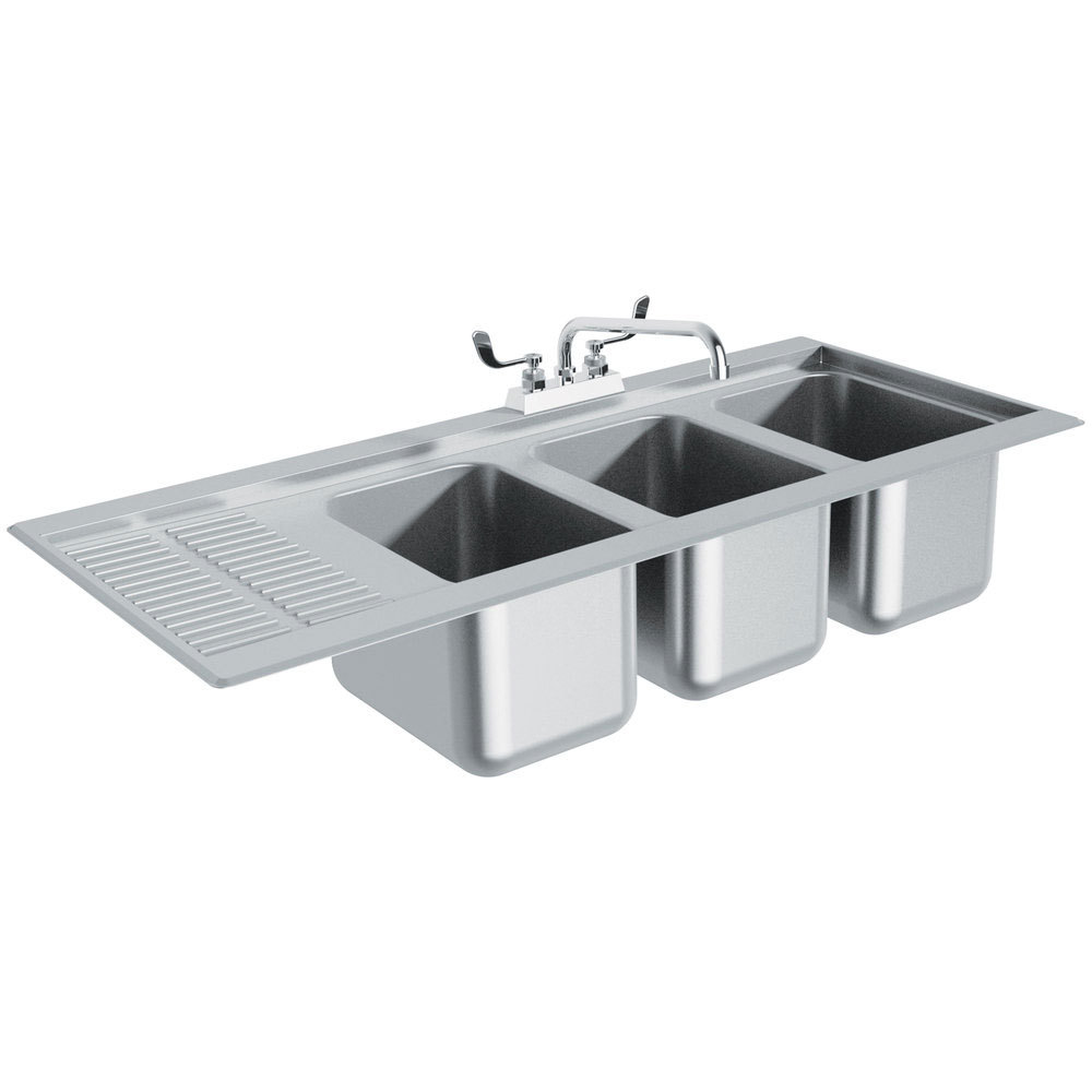 Tabco DBS-43R Three Compartment Stainless Steel Drop-In Bar Sink ...