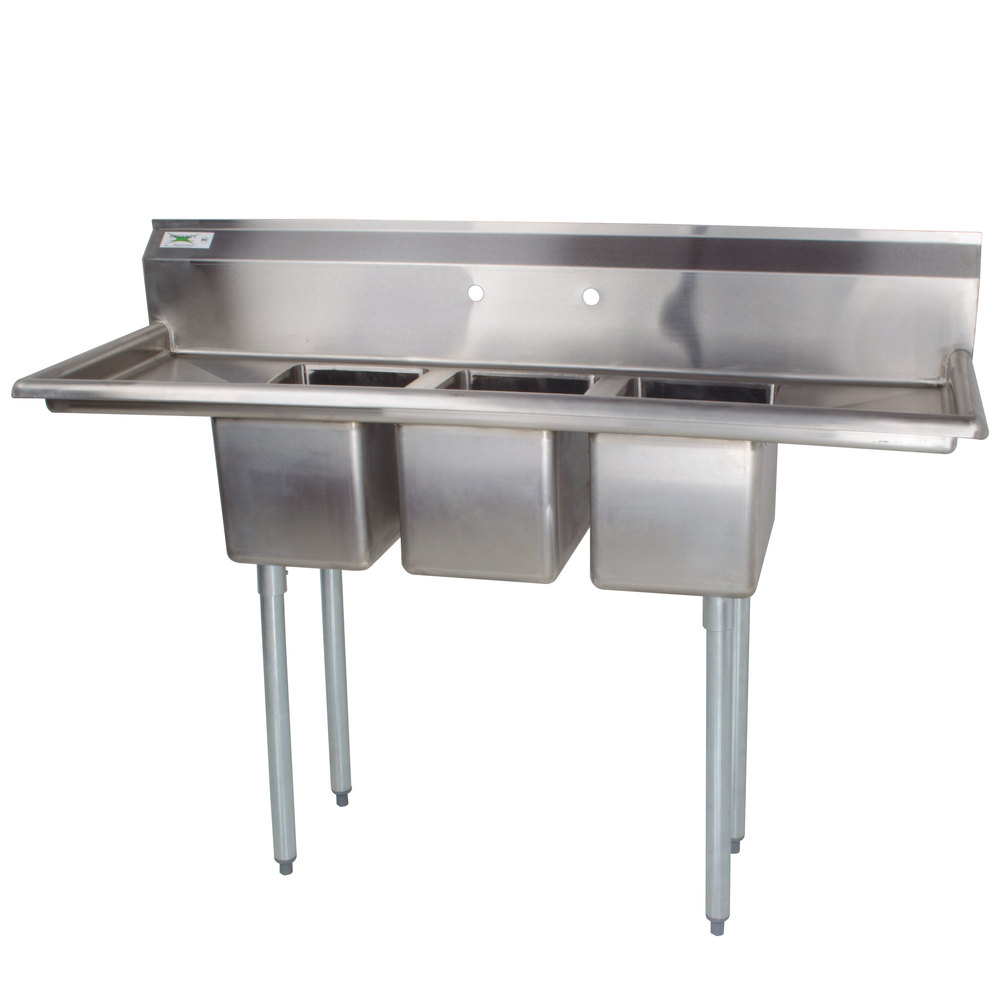 3 Compartment Sink With 2 Drainboards Regency 16 Gauge Three Compartment Stainless Steel