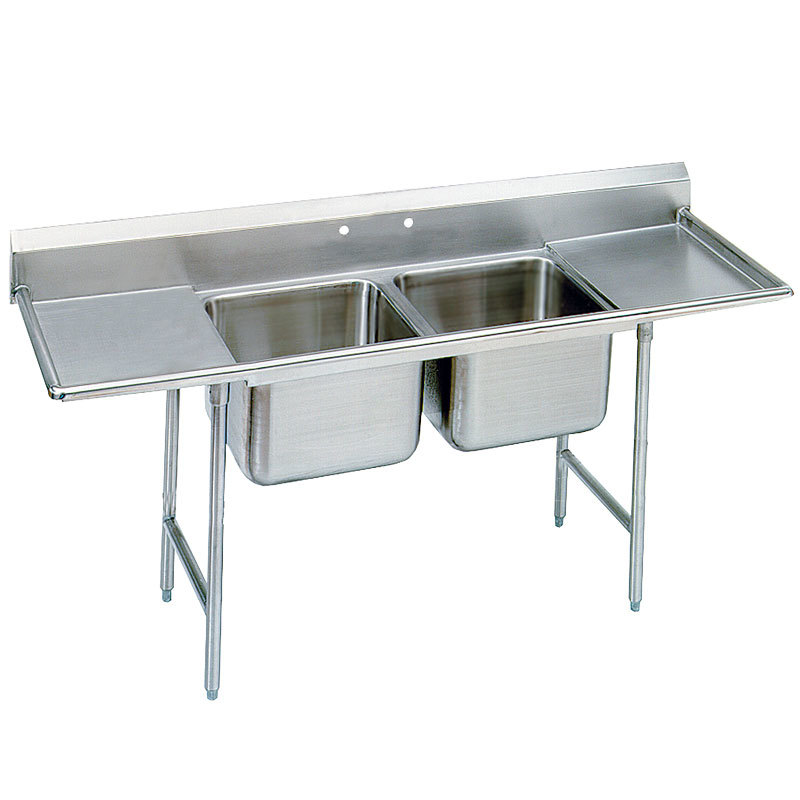 ... Compartment Stainless Steel Commercial Sink with Two Drainboards- 81