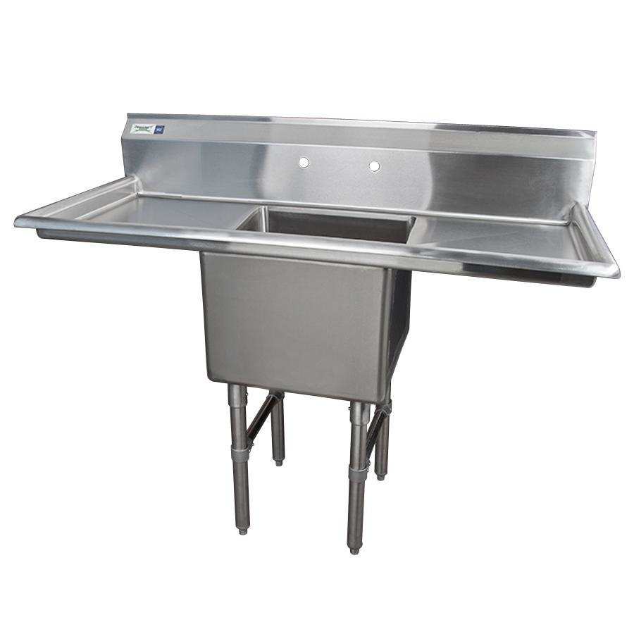 Stainless Sink Drainboard : Stainless Steel One Compartment Commercial Sink with 2 Drainboards ...