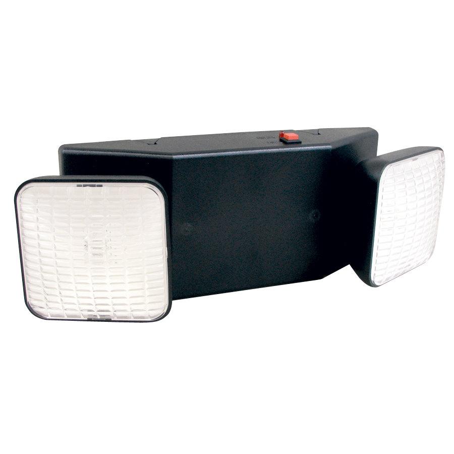 emergency lighting unit 2 lights black with battery backup 120v. Black Bedroom Furniture Sets. Home Design Ideas