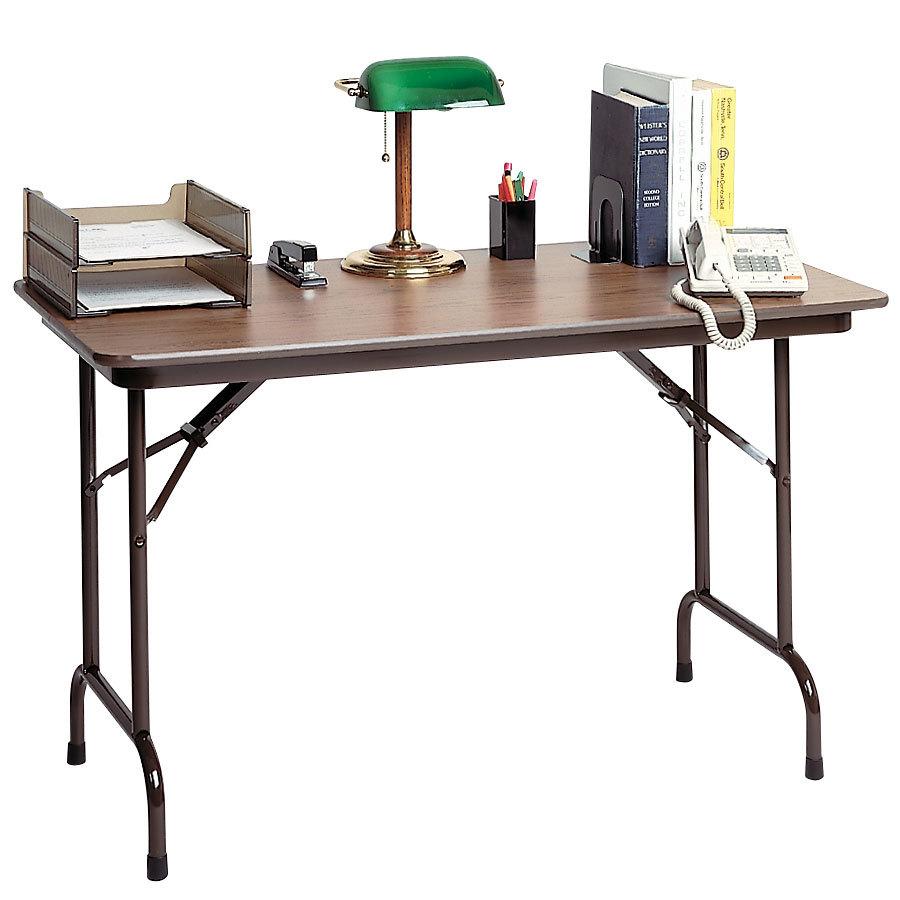 correll cf2436mk 24 x 36 walnut melamine top keyboard height folding table. Black Bedroom Furniture Sets. Home Design Ideas