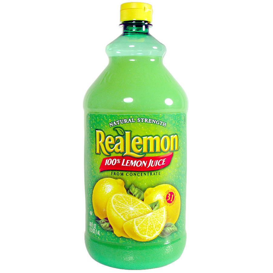 Realemon 100 Real Lemon Juice 48 Oz Bottle