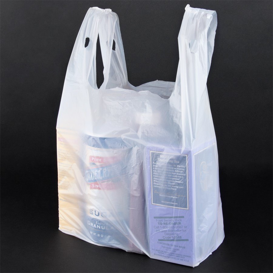 1 8 size white t shirt bag 1000 case for Plastic shirt bags wholesale