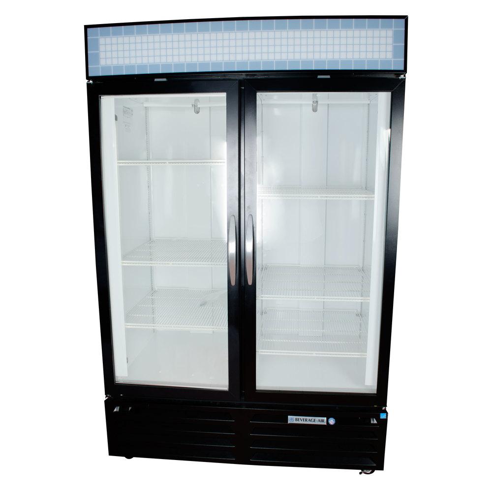 Beverage air mmf49 1 b black marketmax 2 glass door for 1 door freezer