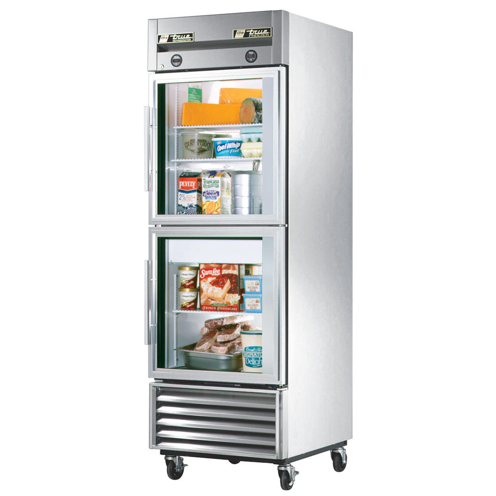 Refrigerators freezer on the bottom fridge on top with double doors - True T 23dt G One Section Dual Temp Reach In Combination