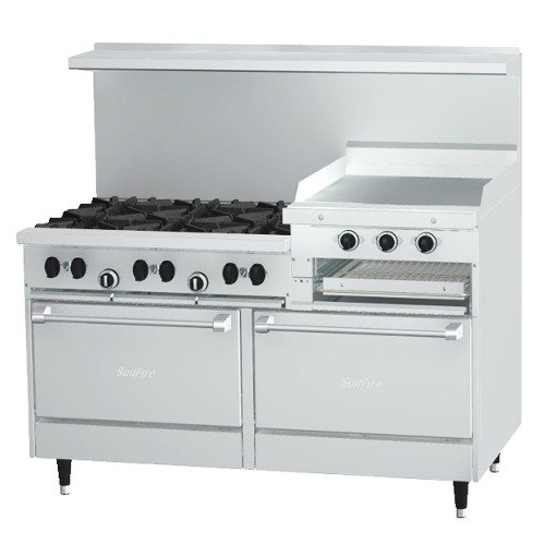 Garland sunfire series x60 6r24rr 6 burner gas range with for Cocina 6 hornillas