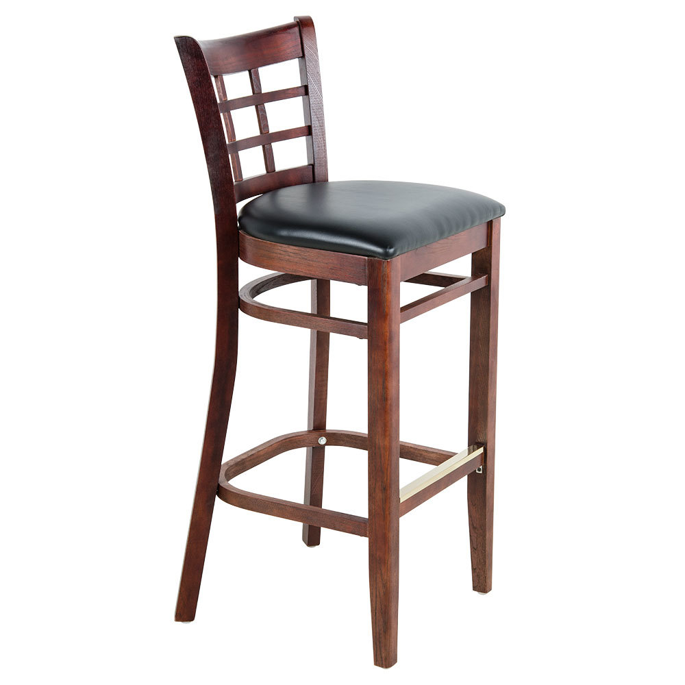 lancaster table seating mahogany window back bar height chair with black padded seat. Black Bedroom Furniture Sets. Home Design Ideas