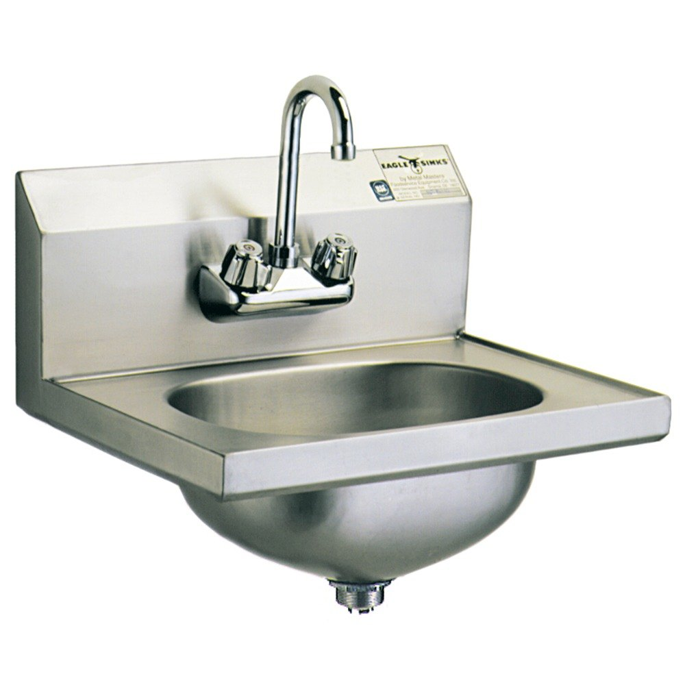 ... HSA-10-F-MG MicroGard Hand Sink with Gooseneck Faucet and Basket Drain