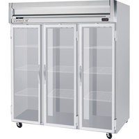 Beverage Air HR3-1G-LED 3 Section Glass Door Reach-In Refrigerator - 74 cu. ft., SS Front, Gray Exterior
